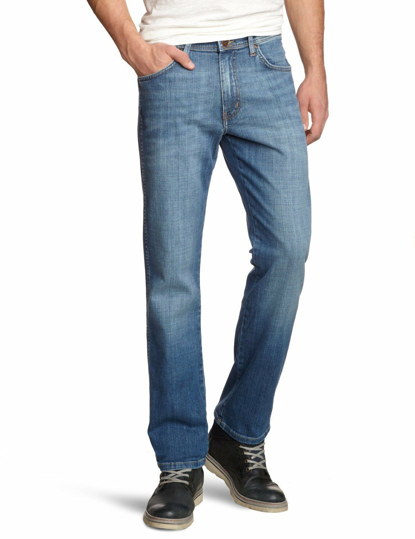Wrangler New Mens Texas Stretch Regular Fit Jeans Classic Worn Broke Blue Denim