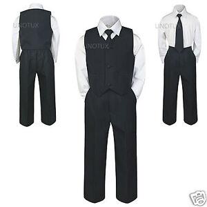 4pc Baby Toddler Kid Teen Boy Wedding 4pc Vest Suit Necktie Pants Set BLACK S-20