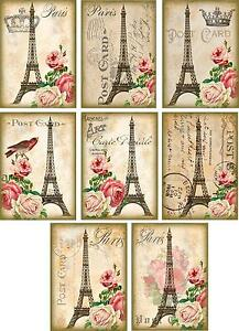 Vintage-inspired-Roses-Eiffel-Tower-Paris-ATC-altered-art-note-cards-set-of-8