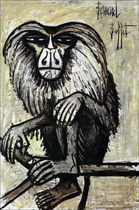 Bernard-BUFFET-1928-1999-AFFICHE-034-Le-Singe-034-Signee-80X55-cm-ETAT-PARFAIT