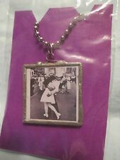 "LOVE & Surrender 22"" Ball Chain Necklace w/Reversible Square Pendant WWII Photo"