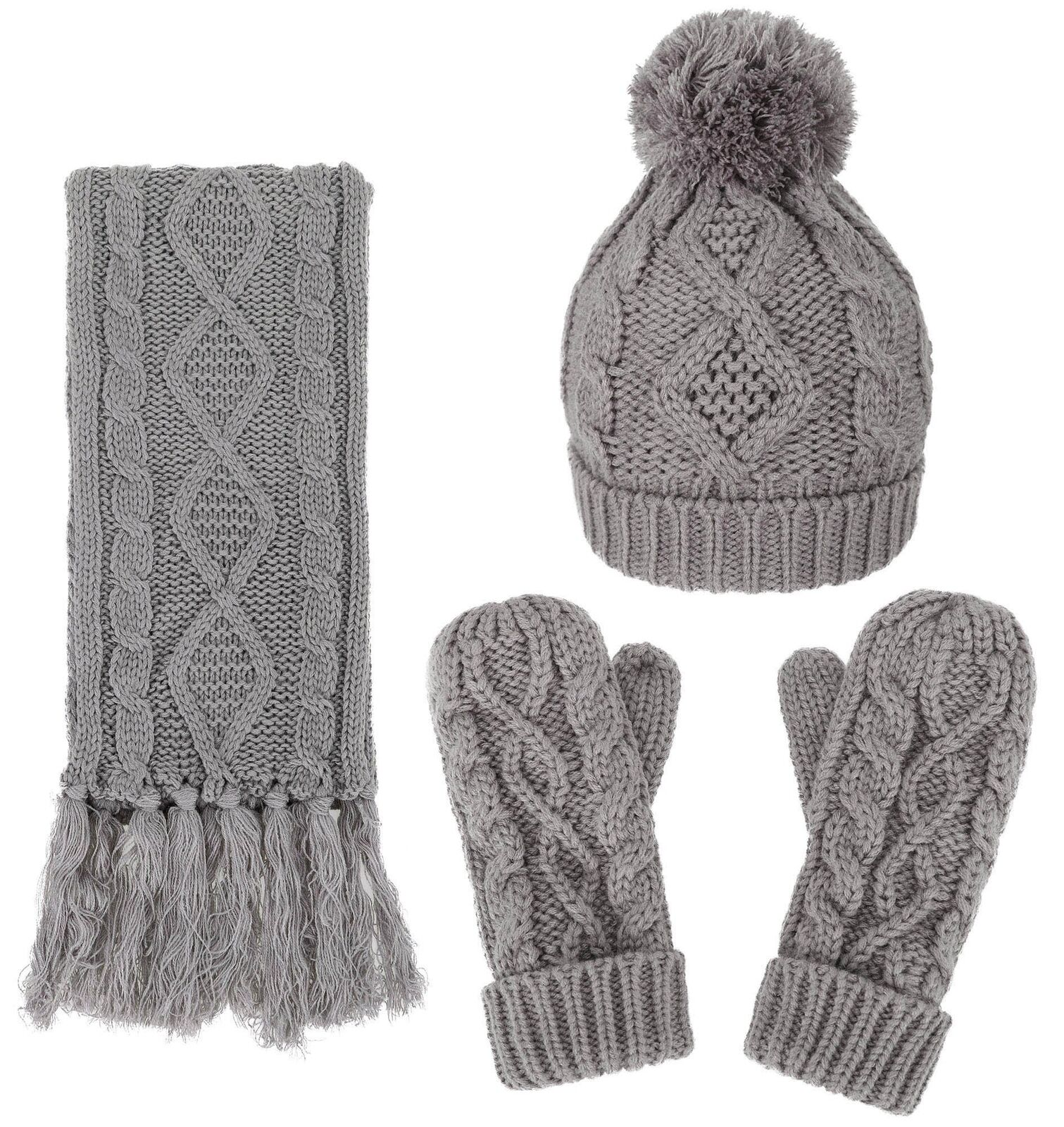 284b530a9d0 Andorra 3 in 1 Women Soft Warm Thick Cable Knitted Hat Scarf ...