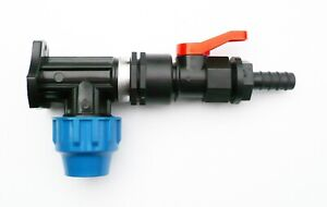 MDPE-Wall-Plate-Elbow-20mm-with-In-Line-On-Off-Ball-Valve-amp-1-2-034-Hose-Tail