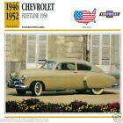 CHEVROLET FLEETLINE 1950 1946 1952 CAR VOITURE USA ETATS-UNIS CARTE CARD FICHE