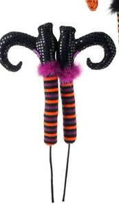Halloween-Witch-Legs-Boots-Stake-26-Raz-Import-posable-purple-orange-H3416021