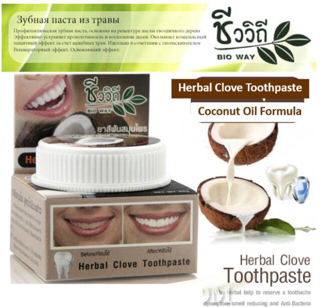 Herbal Clove Toothpaste 25 g Coconut Oil Formula Whitening Teeth Thai Herb Brown
