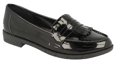 Damen Spot on Fransen Trimm niedrig ohne Bügel schwarz & Braun Slipper Schuhe