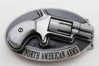 Men Western Belt Buckle Silver Metal Gun Pistol North American Arms Nra Revolver