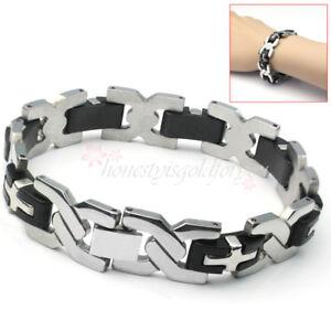 Herren-Edelstahl-Armband-Armkette-Armschmuck-Herrenarmband-Silber-Schwarz-Neu