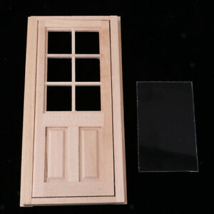 1-12-Dollhouse-Miniature-Wood-Externe-Single-Door-Unlackiert-DIY-Zubehoer
