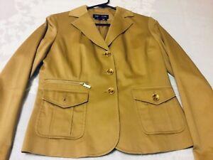 Women-s-JONES-NEW-YORK-SMALL-PETITE-TAN-KHAKI-STRETCH-Suit-Blazer-Jacket