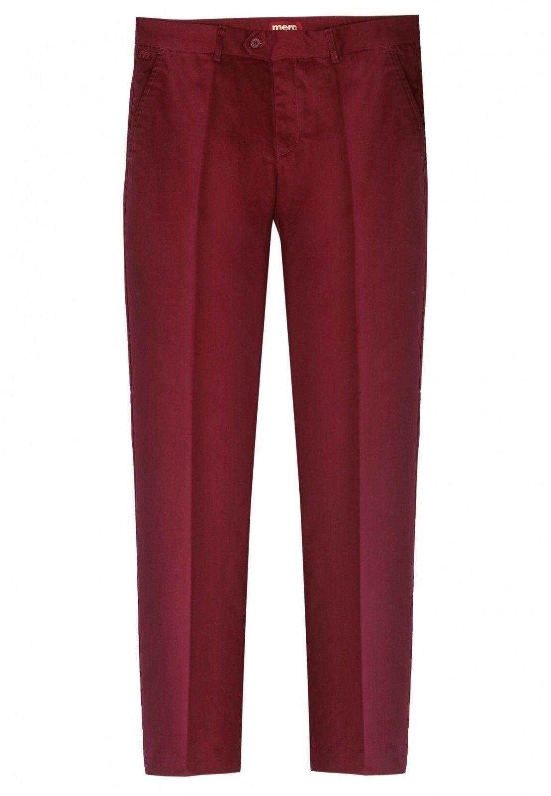 Merc London Hombre Mod Clásico Sta Prensa Pantalones Winston - Vino