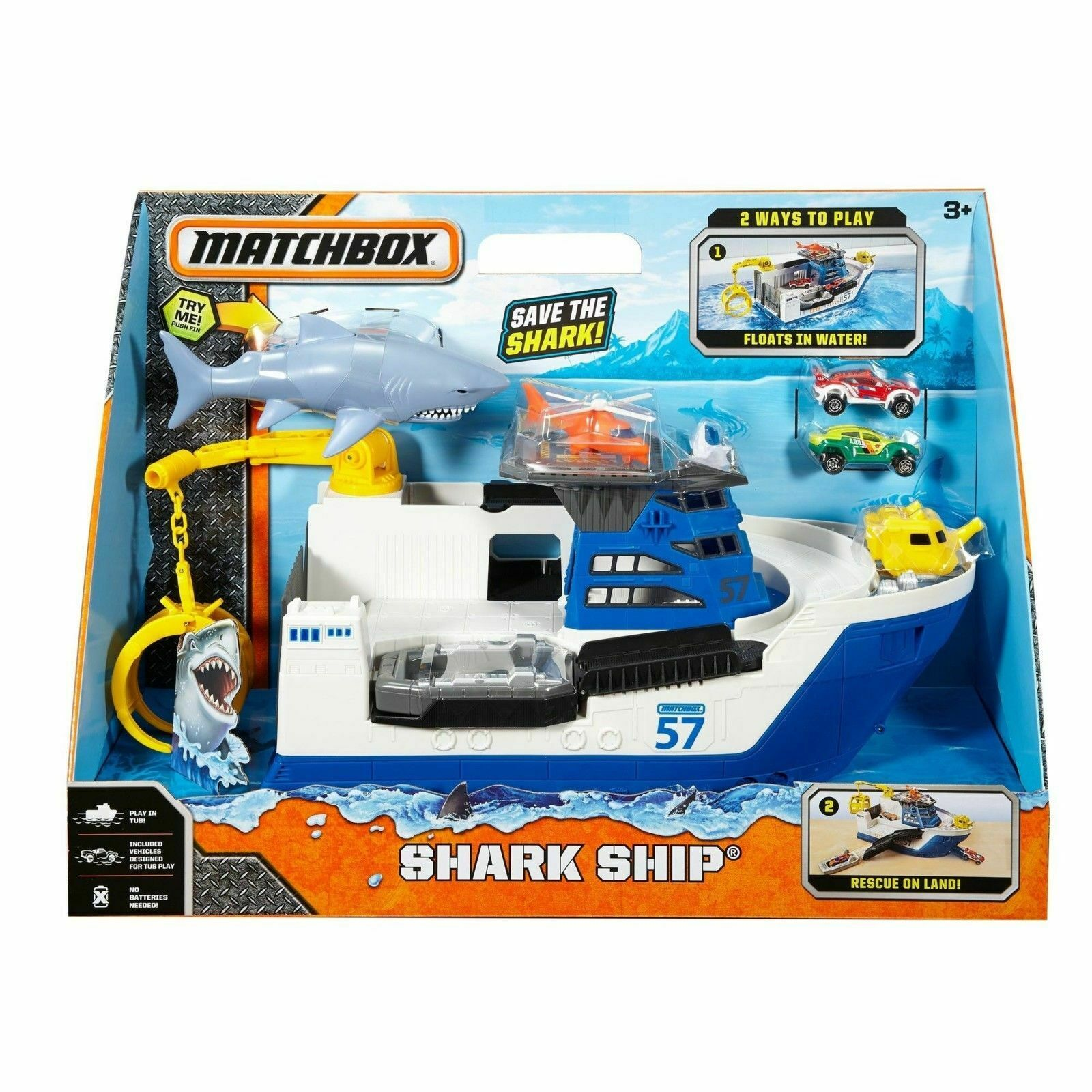 Shark Ship Mission Playset Mega Rig Floats Water Roll Roll Roll Land Mission Marine Rescue 139441