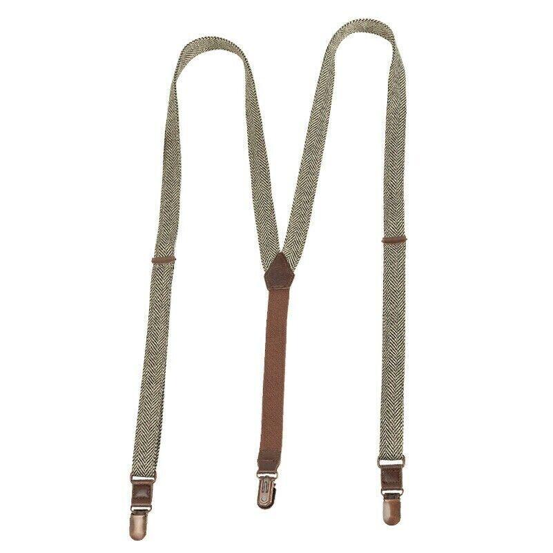 Men 20mm Wide Braces Y-Back Trousers Retro Herringbone Suspenders Adjustable