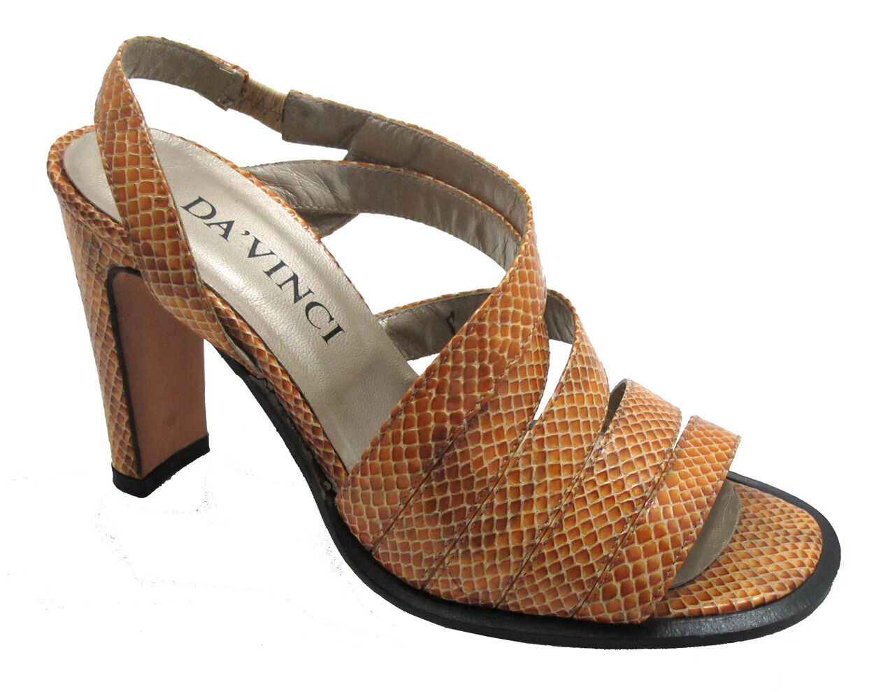 Davinci F89 Wouomo Strappy Sandal snake skin in nero grigio