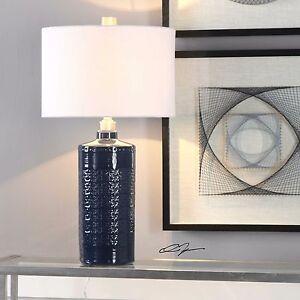 New 31 Textured Royal Blue Glaze Ceramic Table Lamp Beige White