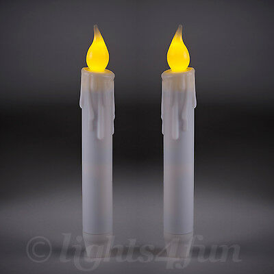 Set Of 2 Battery Operated Flickering LED 17cm Taper Candles With 6 Hour Timer