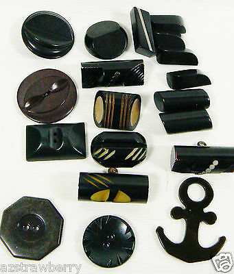 VTG Mix Lot of 19 assorted color black size Rare all bakelite carved buttons