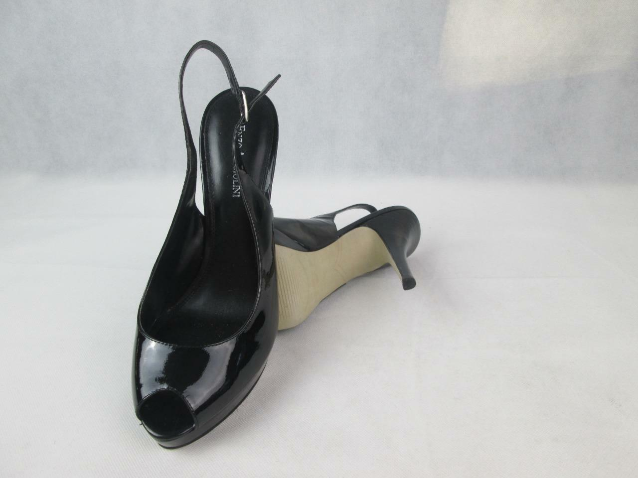 ENZO ANGIOLINI EASTARLIGHT schwarz schwarz schwarz PATENT LEATHER PLATFORM PEEP TOE HEELS 9M EUC 462ff3