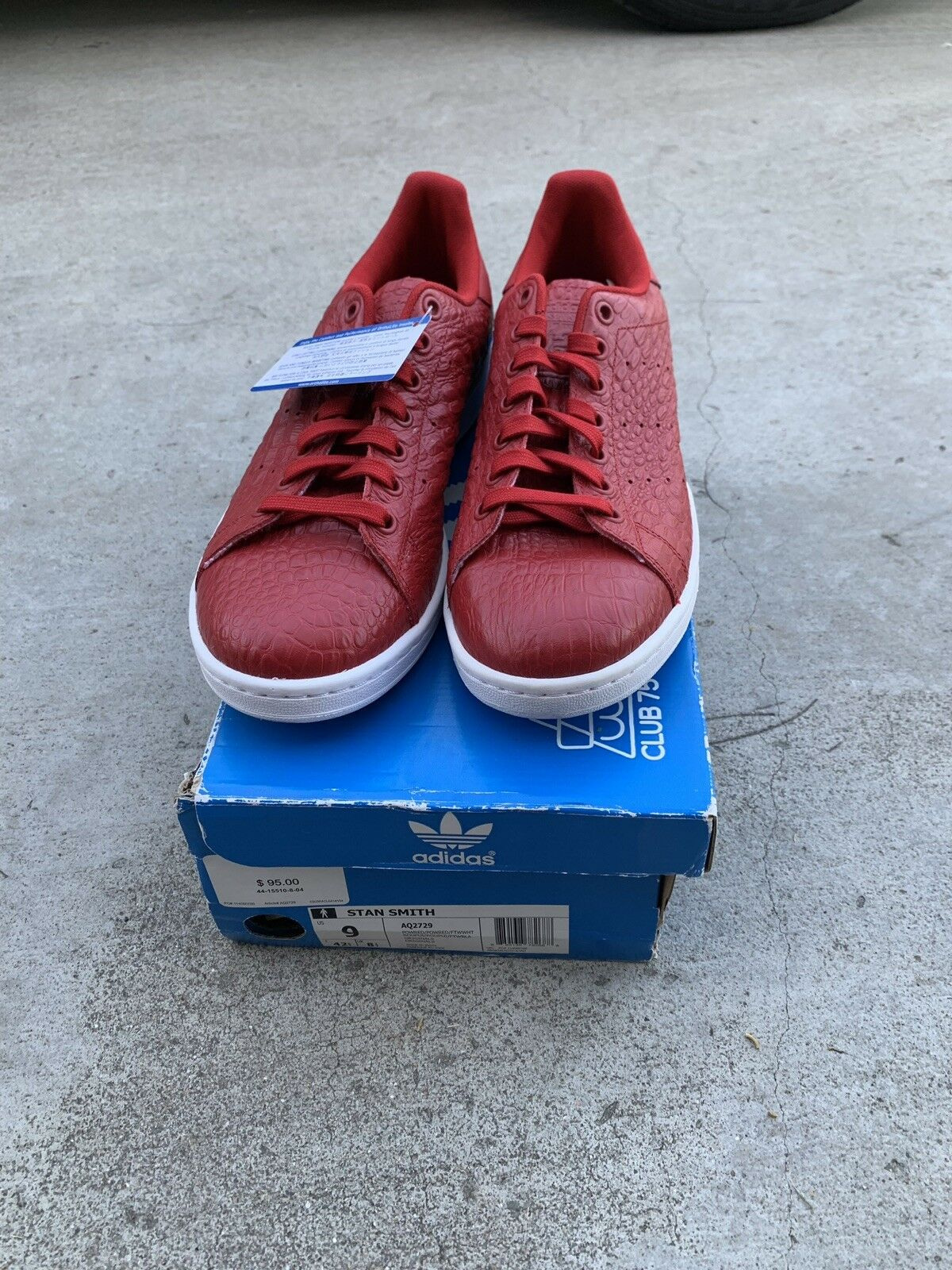 Adidas Stan Smith Smith Smith röd Storlek 9 AQ2729 Deadstock  köp 100% autentisk kvalitet