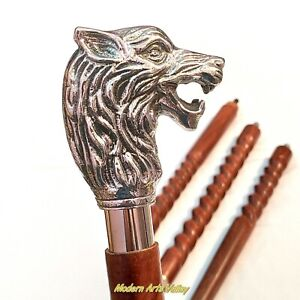 Solid Brass Antique Wolf Handle Vintage Antqiue Wooden Walking Stick Cane