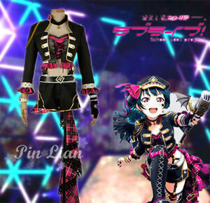 Lovelive Aqours Punk Rock Awakening Tsushima Yoshiko Uniform Cosplay