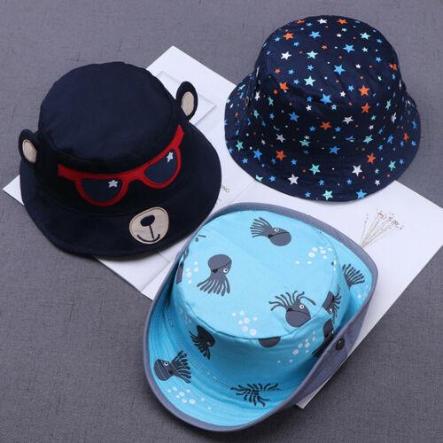 Toddler Kids Baby Boys Girls Cartoon Print Soft Visor Bucket Eaves Cap Pots Hats