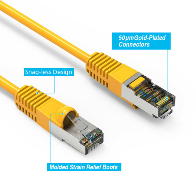 550MHz Blue 24AWG Network Cable with Gold Plated RJ45 Molded//Booted Connector 10 Gigabit//Sec High Speed LAN Internet//Patch Cable 20-Pack - 0.5 Feet GOWOS Cat6 Shielded Ethernet Cable