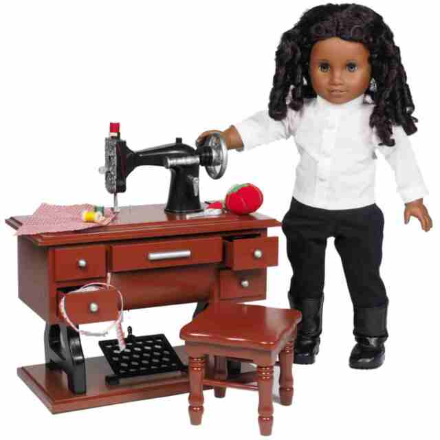 Wood Antique Style Sewing Machine Sized Fit 40 Inch American Girl Amazing 18 Doll Sewing Machine