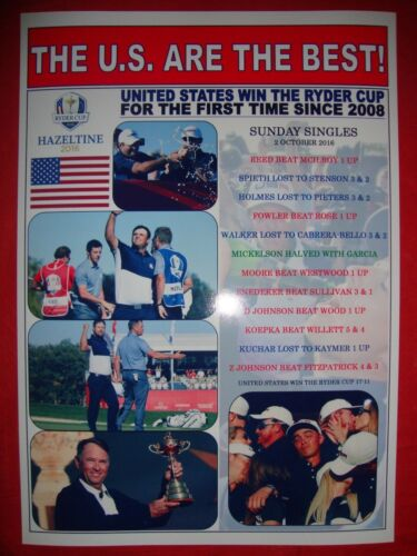 USA win 41st Ryder Cup at Hazeltine US 17 Europe 11 2016 souvenir print