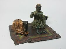 Authentic Signed FRANZ BERGMAN Cold Painted Bronze Sculpture of Snake Charmer