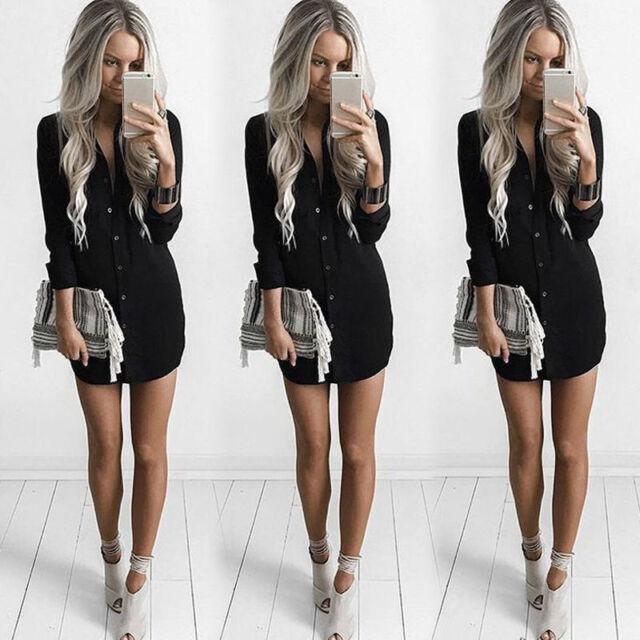 Fashion Womens Summer Long Sleeve Casual Blouse Loose Chiffon Tops T Shirt Dress