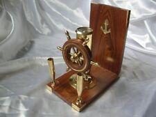 Portapenne nautico con bussola e timone in ottone arredo scrivania ufficio nave