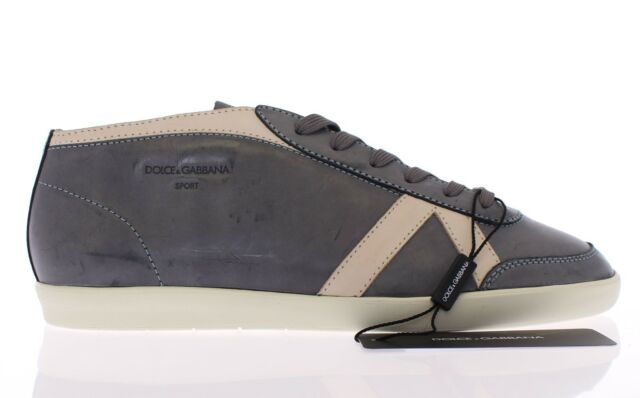 NWT $340 DOLCE & GABBANA Dark Gray Leather Sport Sneakers Shoes EU42.5 / US9.5