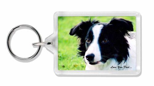 DAD-18K Border Collie Dog /'Love You Dad/' Photo Keyring Animal Gift