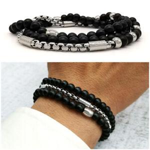 Bracciale-uomo-acciaio-pietre-dure-in-nero-braccialetto-con-inox-nero-da-catena