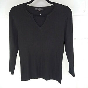 August-Silk-Knit-Blouse-Women-Size-M-Black