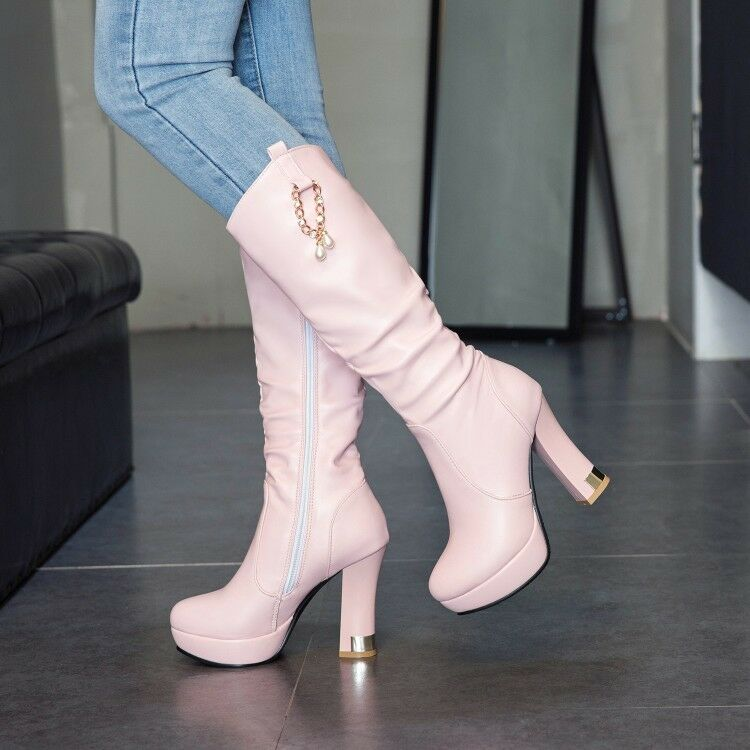 Women's Round Toe High Heel Fashion Slouchy Knee High Boots Shoes
