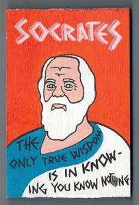 """Socrates Mini Pop Folk Art on 5.5"""" x 3.5"""" x 0.75"""" Wood Block"""