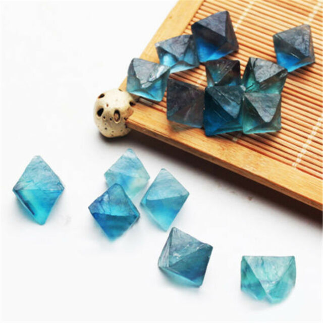 Natural Clear Blue Fluorite Crystal Point Octahedron Rough Specimens HOT 1Pcs