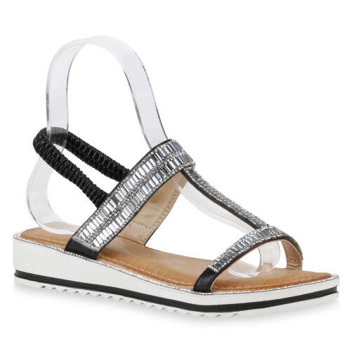 Damen Sandaletten Keilsandaletten Strass Sommer Schuhe 820362 Trendy Neu