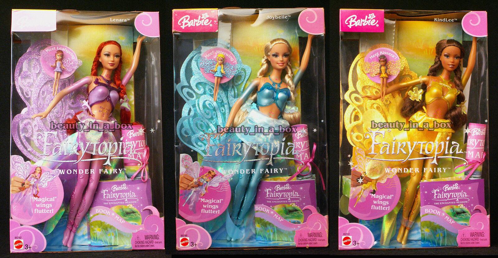 Muñeca Barbie Hada de maravilla Lenara Joybelle Kindlee AA africano Fairytopia Lote 3 dinamita Girl