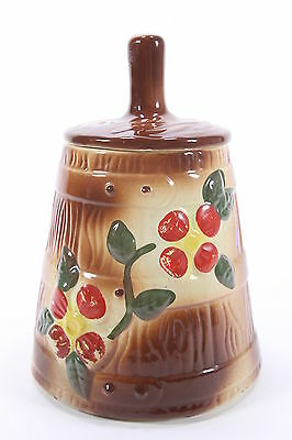 Vintage Pottery Cookie Jar Shaped Like A Butter Churn Red Flowers Design