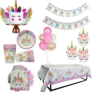 Unicorn-Party-Decor-Birthday-Decoration-Kids-Theme-Paper-Hat-Napkins-Plate-Girl
