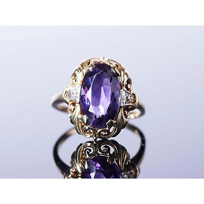 süßer Vintage - Ring mit Amethyst - 50er Jahre Goldschmiede Arbeit - Gold 585