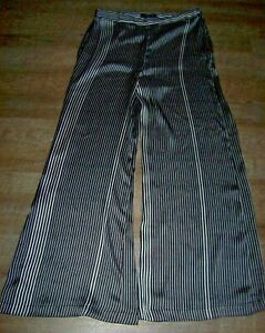 Epsilon-Silky-Polyester-Wide-Leg-Palazzo-Pants-Women-039-s-8-Black-amp-White-Stripe