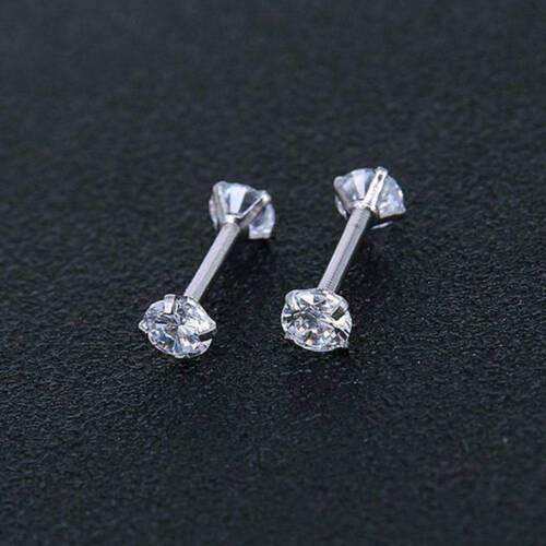 Surgical 316L Stainless Steel Stud Earrings Cubic Zircon Round Women Men 2PCS