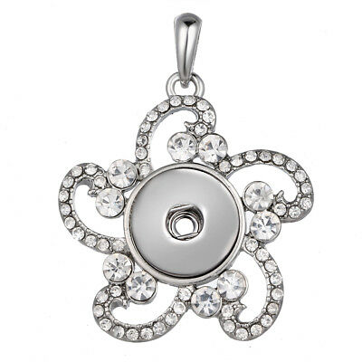 Hot Women Crystal Jewelry Necklace Pendant Fit 18mm Noosa Snap Button N167