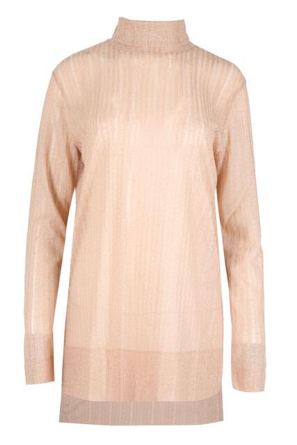 Pink Metallic Lurex Tunic Funnel Roll Neck Top Blouse Semi-Sheer Plus Size 12-20