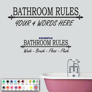 Image Is Loading Personalised Bathroom Rules Wall Sticker Wall Art Decal